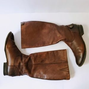 Arturo Chiang   Leather Back Zip Riding Boots